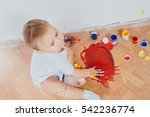 the child got dirty colors ... | Shutterstock . vector #542236774