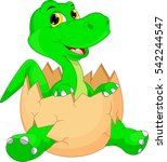 cute dinosaur cartoon hatching | Shutterstock .eps vector #542244547