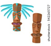 ancient wooden totem with blue... | Shutterstock .eps vector #542265727