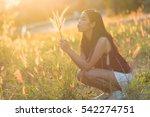 pretty girl outdoor beautiful... | Shutterstock . vector #542274751
