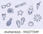hand drawn summer doodle set.... | Shutterstock .eps vector #542277349