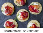 party blinis with beetroot... | Shutterstock . vector #542284009