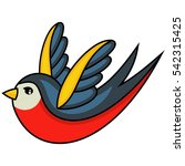 tattoo swallow. old school... | Shutterstock .eps vector #542315425