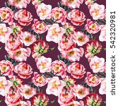 seamless floral pattern with... | Shutterstock . vector #542320981