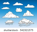 set of vector clouds hand drawn ... | Shutterstock .eps vector #542321575