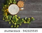 glass with beer  fresh hop and... | Shutterstock . vector #542325535