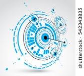 3d modular wallpaper. retro... | Shutterstock . vector #542343835
