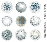 set of dimensional wireframe... | Shutterstock . vector #542347195