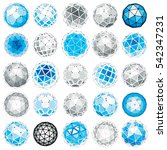 set of low poly spherical... | Shutterstock . vector #542347231