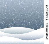 snow falls and snowdrift hill... | Shutterstock .eps vector #542353645