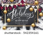 happy holidays greeting card... | Shutterstock .eps vector #542354161