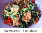 basil pork chop on a plate | Shutterstock . vector #542358001