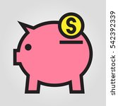 save money pig bank icon in...