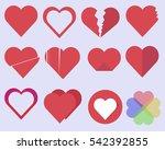 set of 12 valentine love hearths | Shutterstock .eps vector #542392855