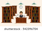 woman employee of library.... | Shutterstock .eps vector #542396704