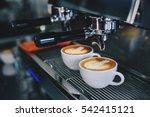 coffee latte art in coffee shop ... | Shutterstock . vector #542415121