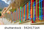 multi colored fence outside... | Shutterstock . vector #542417164