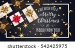 vintage christmas greeting card ... | Shutterstock .eps vector #542425975