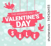 Valentine's day sale offer, banner template. Pink heart with lettering, isolated on blue background. Valentines Heart sale tags. Shop market poster design. Vector | Shutterstock vector #542426455