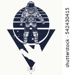 astronaut in space  tattoo.... | Shutterstock .eps vector #542430415