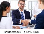 business handshake at meeting...   Shutterstock . vector #542437531