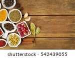 aromatic spices on wooden... | Shutterstock . vector #542439055
