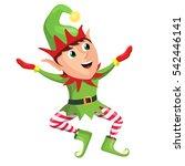 happy merry christmas elf... | Shutterstock . vector #542446141