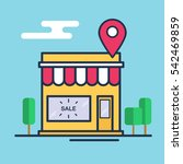 shop icon with map pin. flat... | Shutterstock .eps vector #542469859