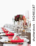 empty glasses set in restaurant.... | Shutterstock . vector #542481187