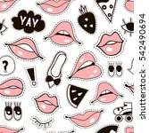 seamless pattern with fashion... | Shutterstock .eps vector #542490694