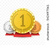 gold  silver and bronze trophy... | Shutterstock .eps vector #542497561
