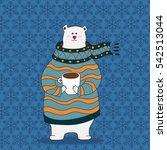 hand drawn cute polar bear... | Shutterstock .eps vector #542513044