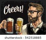 hipster holding glass of beer... | Shutterstock .eps vector #542518885