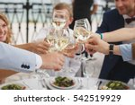 hands holding glasses and... | Shutterstock . vector #542519929