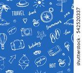 hand drawn travel seamless...   Shutterstock .eps vector #542520337