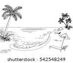 sea coast graphic black white... | Shutterstock .eps vector #542548249