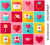 valentines day love colorful... | Shutterstock .eps vector #542569069