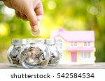 savings money coins for house... | Shutterstock . vector #542584534