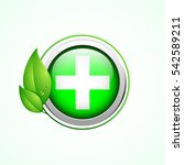 pharmacy sign with green leaves ... | Shutterstock .eps vector #542589211