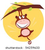 brown cute monkey hanging from... | Shutterstock .eps vector #54259633