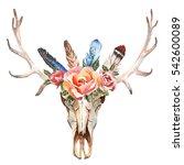 watercolor isolated deer's head ...   Shutterstock . vector #542600089
