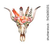 watercolor isolated bull's head ... | Shutterstock . vector #542600101