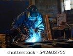 welders working at the factory... | Shutterstock . vector #542603755