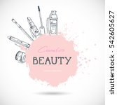 beauty make up and cosmetics... | Shutterstock .eps vector #542605627