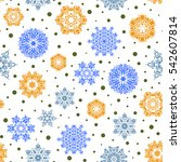 decorative blue  yellow and... | Shutterstock . vector #542607814