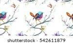 vintage seamless pattern  bird  ... | Shutterstock .eps vector #542611879