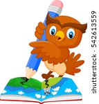 cartoon owl drawing on a book | Shutterstock .eps vector #542613559