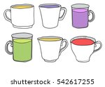 set of cute mug and cup in...   Shutterstock .eps vector #542617255