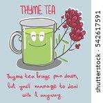 cute cup of thyme tea vector... | Shutterstock .eps vector #542617591