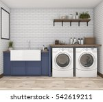 Stock photo  d rendering washing machine in vintage laundry room 542619211